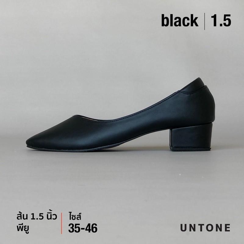 รองเท้าผู้หญิง รองเท้าคัชชูไซส์ใหญ่ 35-46 ไม่ลื่น เดินไม่ดัง สูง 1.5 นิ้ว สีดำ