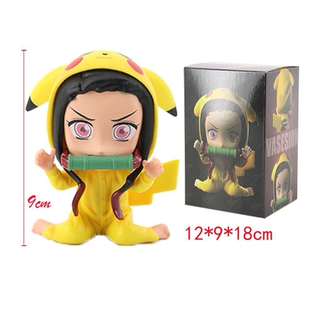 อะนิเมะ รูปอะนิเมะ YJFUY PVC Toy Figures Demon Slayer Action Figure Doll Nezuko Pikachu Collectible Model Anime Figure K