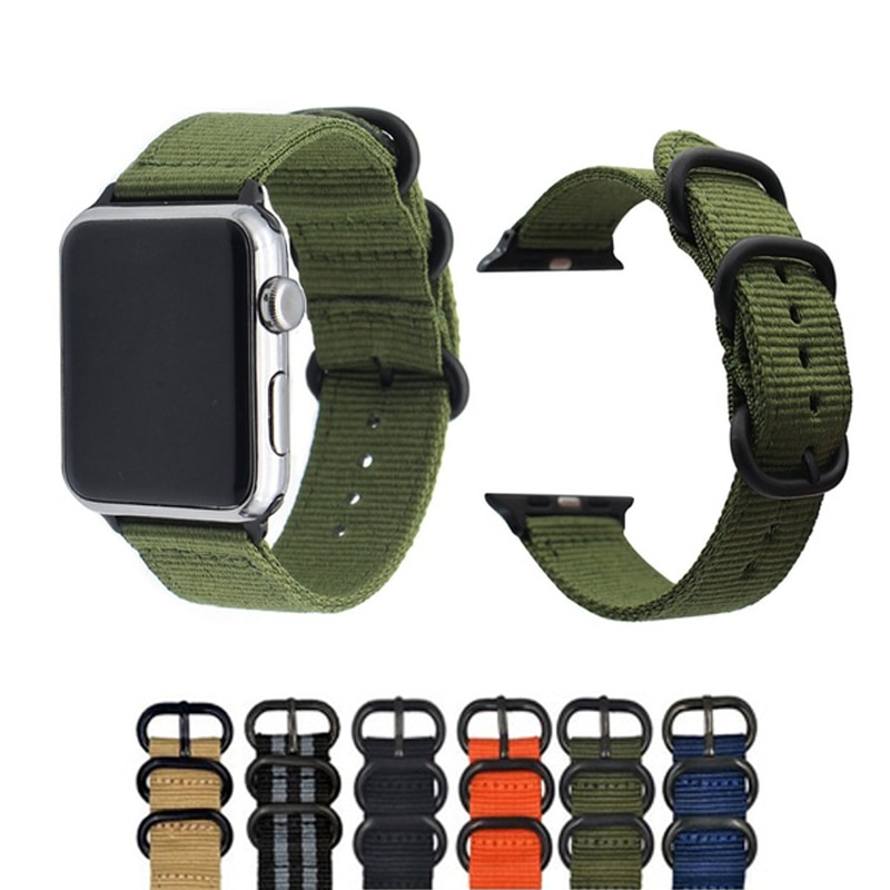 Strap On For Apple Watch 6 Band 44mm 40mm 38mm 42mm Fabric Nylon Elastic Belt Bracelet On iWatch Applewatch Series SE 5 4 3 Band