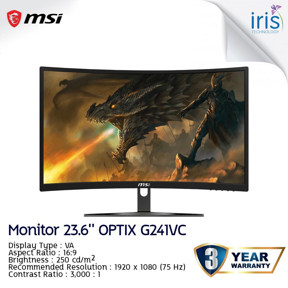 [พร้อมส่ง] MONITOR (จอมอนิเตอร์)  MSI รุ่น Optix G241VC 23.6'' VA 75Hz (HDMI) – รับประกัน 3 ปี