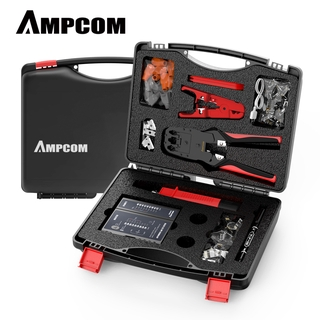 Network Tool Kit, AMPCOM 12 in 1 Professional Portable Ethernet Computer Maintenance LAN Cable Tester Repair Set
