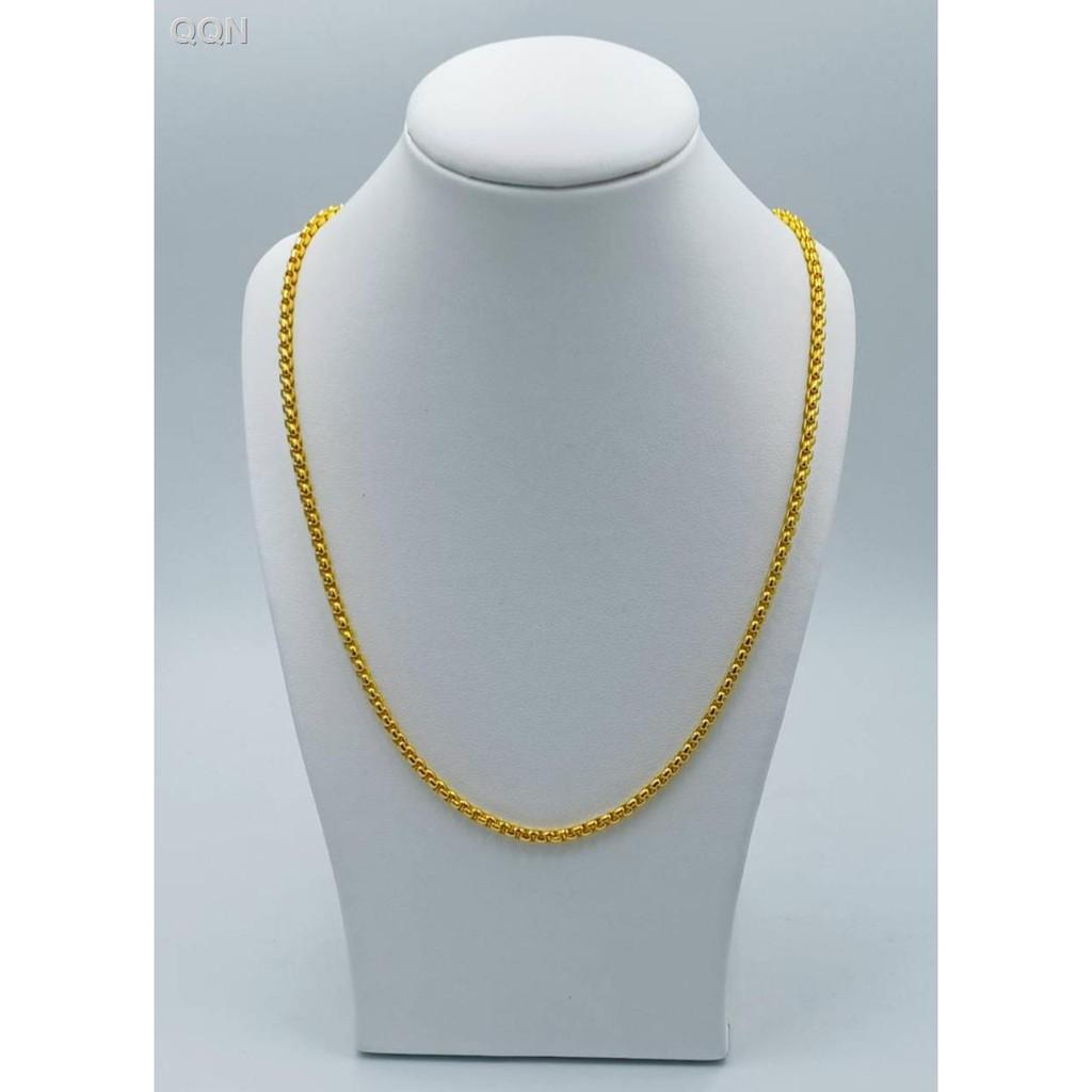 🌷สินค้าคุณภาพดีราคาถูก🌷❖✻JK สร้อยคอลายขวางอตกิต # 235 ขนาด 1 สลึง 18 นิ้วสินค้าขายดีชุบทองเยาวราชชุบทอง 100% งานแก้วใ