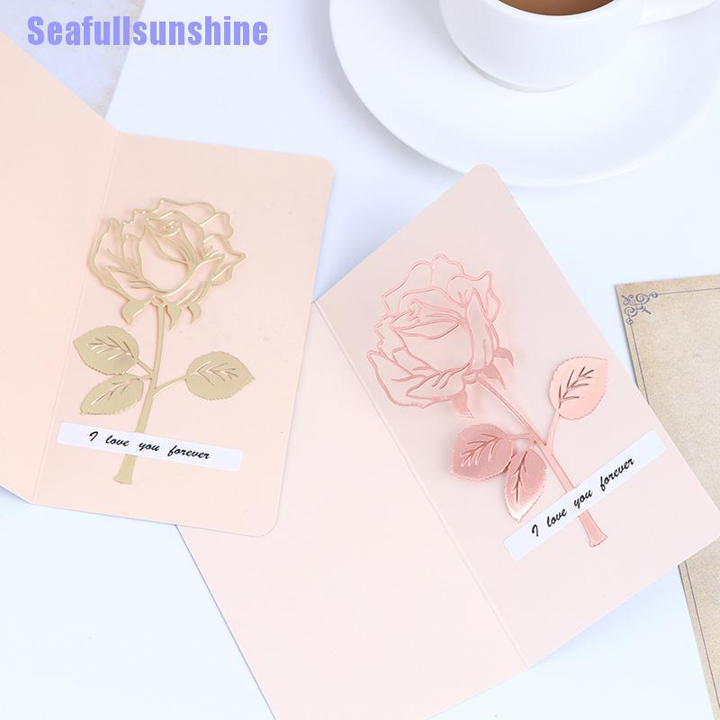 Seaf> 1Pc Rose Metal Bookmark Rose Gold Clips For Books Paper Office Supplies