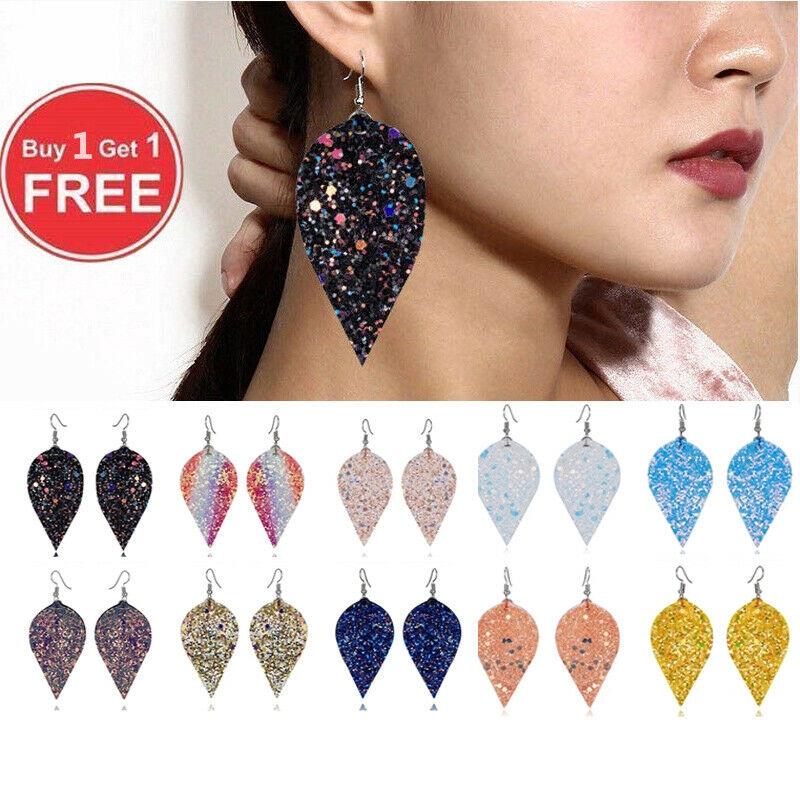 Women Bling Leaf Teardrop Leather Earrings Ear Stud Hook Drop Dangle Jewelry NEW