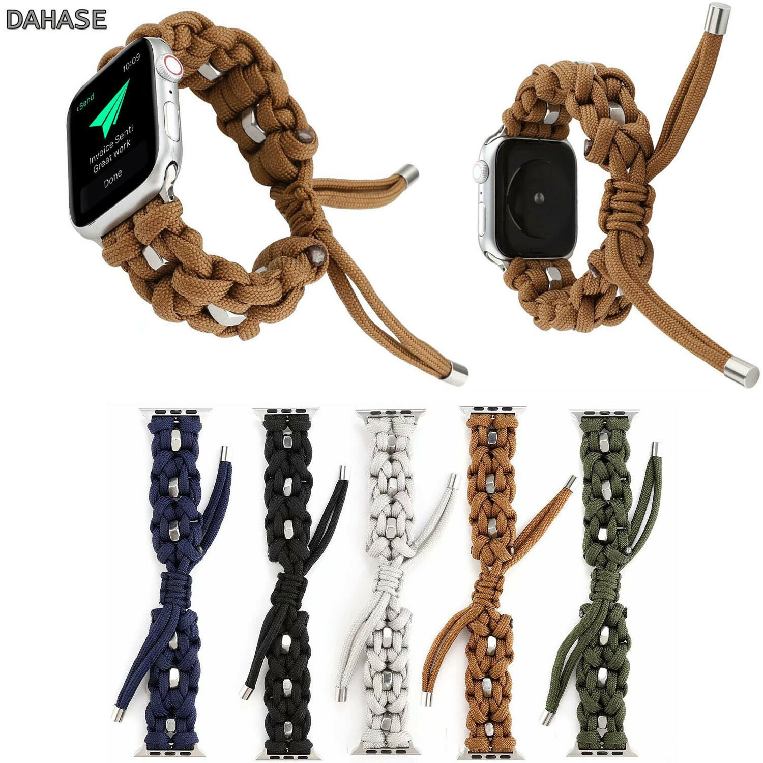 Outdoors Sports Watch Bracelet For Apple Watch Band Series 5 4 3 2 1 Weave Nylon Rope Strap For iWatch 38 40 42 44mm k2i
