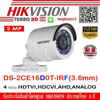 Hikvision กล้องวงจรปิด รุ่น DS-2CE16D0T-IRF 3.6mm 2ล้านพิกเซล