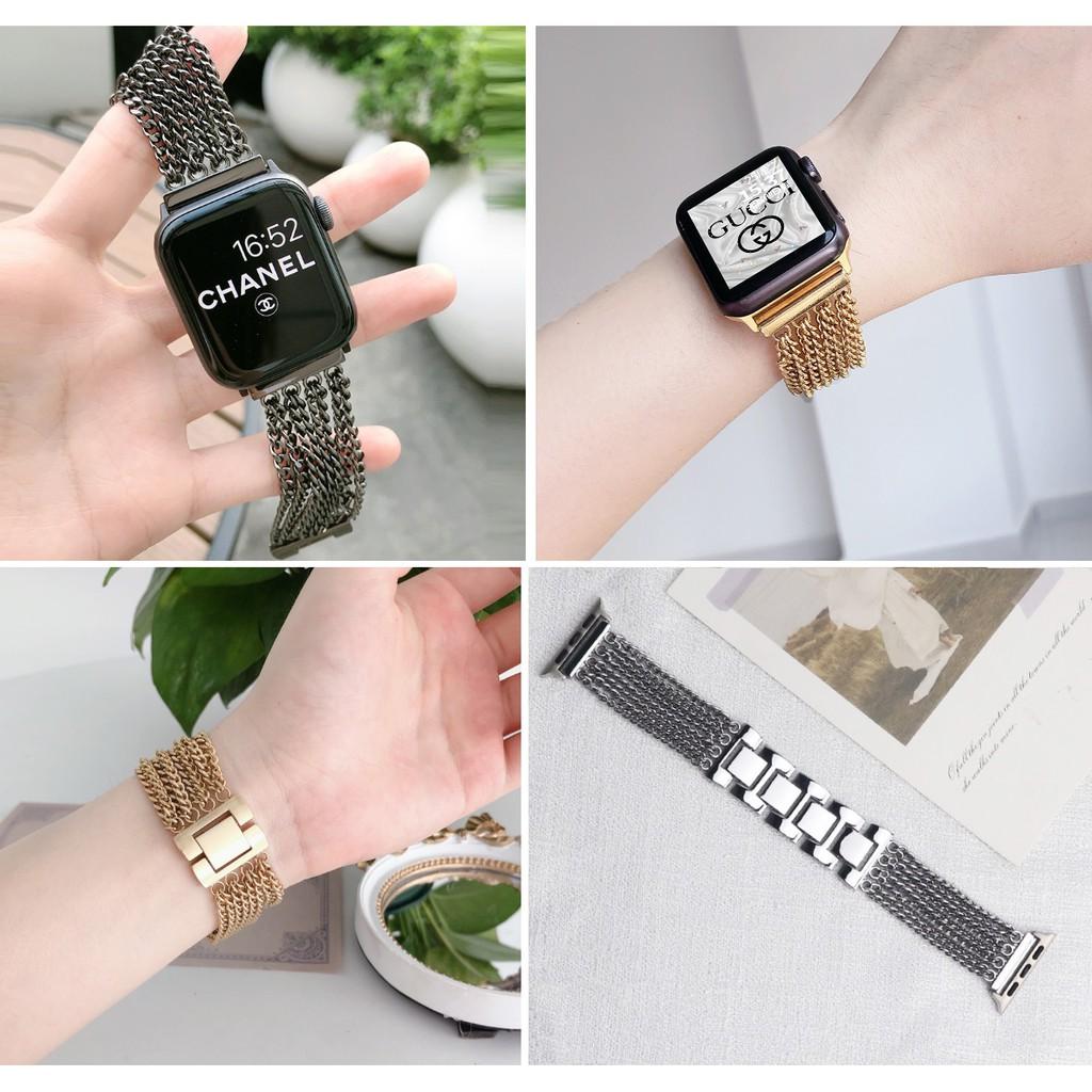 หรูหรา โซ่ สายนาฬิกา Apple Watch Straps เหล็กกล้าไร้สนิม สาย Applewatch Series 6 5 4 3 2 1 Stainless Steel สายนาฬิกาข้อม