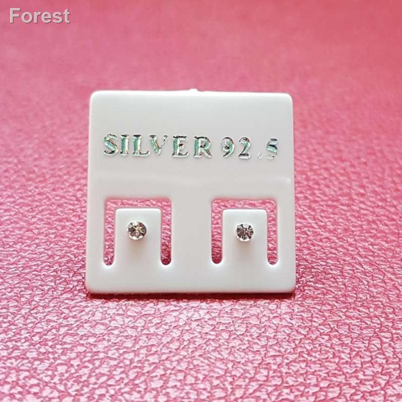 สินค้าคุณภาพราคาถูก🍒ต่างหูเงินแท้ 92.5 Sterling Silver เพชรสวิส CZ เคลือบทองคำขาวขนาด 1 mm