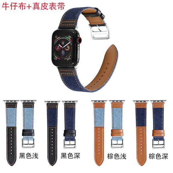 สาย applewatch เหมาะสำหรับสายรัดผ้ายีนส์ Apple Watch iwatch5 applewatch4 หนังผ้าใบเย็บแบรนด์ไทด์