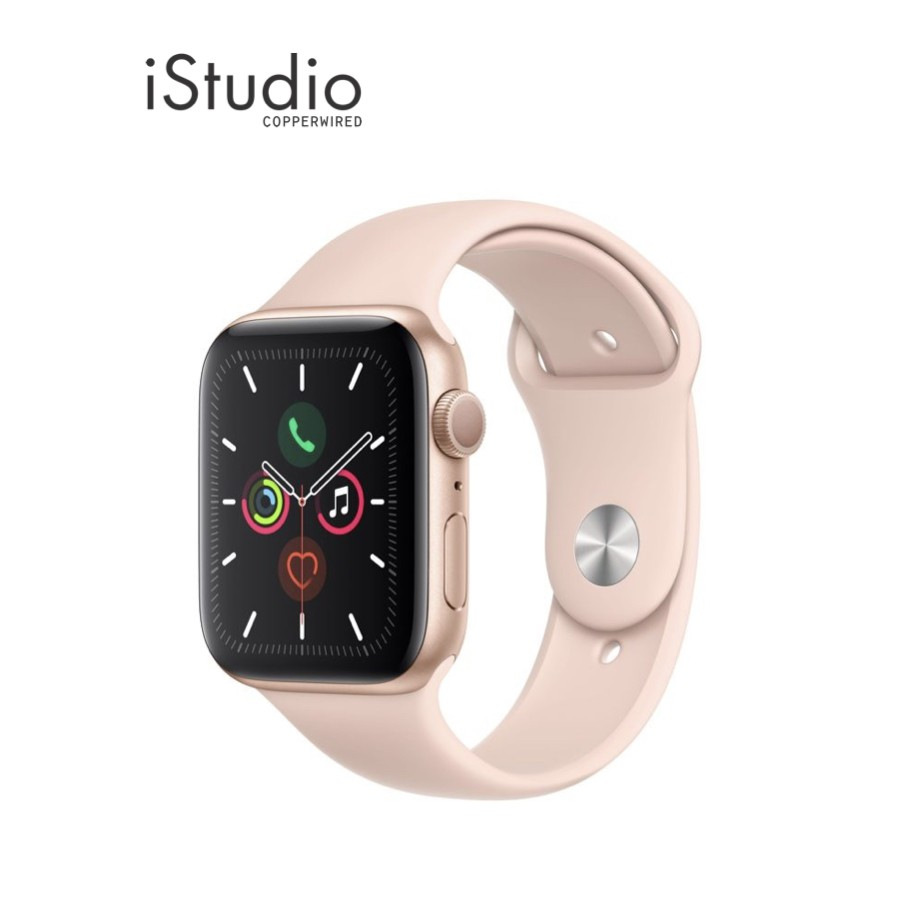 Apple Watch Series 5 Gold Aluminum Case with Pink Sand Sport Band iStudio by Copperwired.