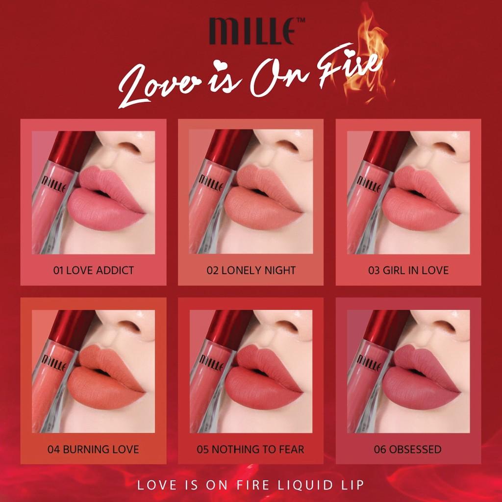 1 ลิปสติกรูปแบบเหลว 7ml On Lip เนื้อแมตท์ Love Is Fire Mille Liquid