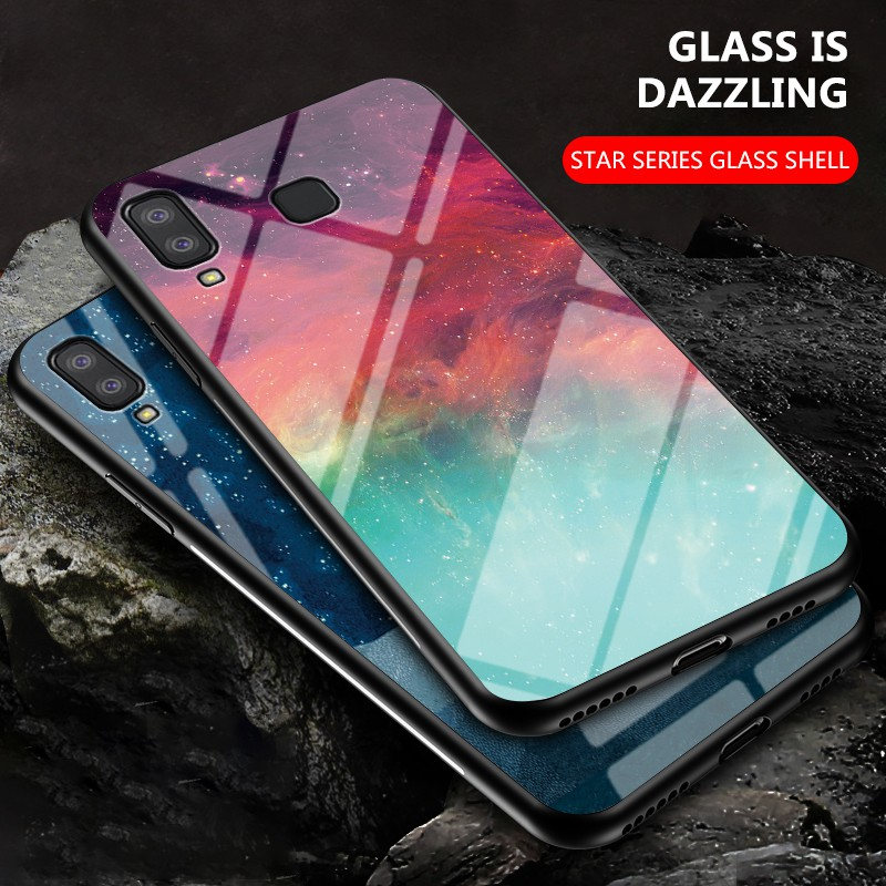 Samsung Galaxy A40 A70E A60 A41 Europe A8S A9 Pro A6s A8 Star A9 Star colorful star pattern glass phone case, Samsung A9s A9 2018 anti-drop phone case