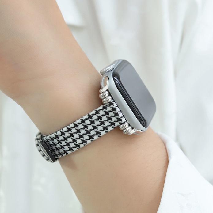 applewatch สาย บังคับApplewatchสายรัดผ้าใบ Houndstooth เอวเล็ก1-6รุ่นSEแอปเปิ้ลiwatchสาย