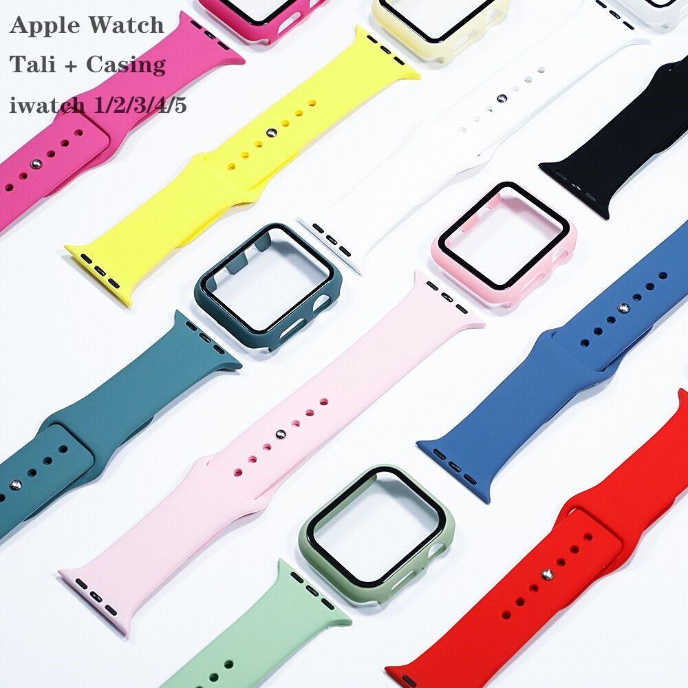 เคส+สาย applewatch newest สายซิลิโคน iwatch series 6 se 5 4 3 2 1 ขนาด 44 มม. 42 มม. 40 มม. 38 มม