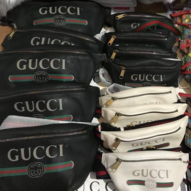 new】Gucci  belt bag ใบใหญ่ มีสีดำและขาว ของแท้100%