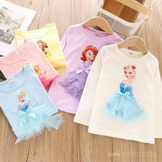 👦🏻Kids เสื้อผ้าเด็ก👧🏻Fashion❤️Girls Short Sleeve Princess TopTT-shirt Frozen Sufeiya Children's Clothing Undershirt