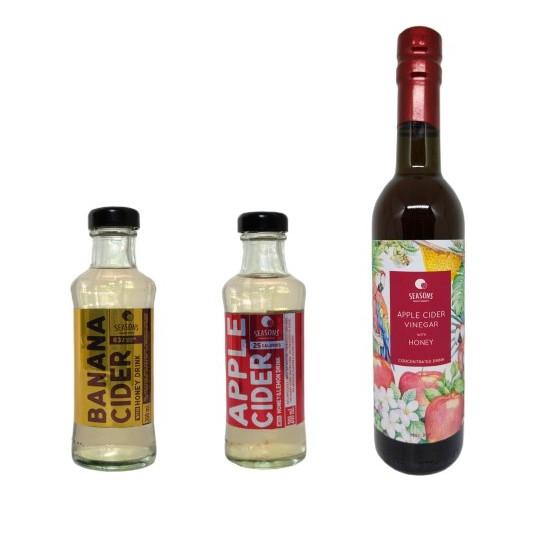 Set Banana Vinegar RTD / Apple Cider Vinegar RTD / Apple Cider Vinegar with Honey Blended