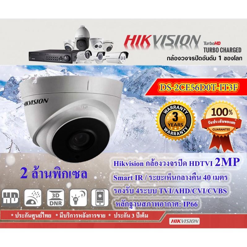 ต่อรองราคาได้🔥Hikvision กล้องวงจรปิด 2MP DS-2CE56D0T-IT3F(3.6mm) 4ระบบ ฟรี Adapter 12V-1A+สายสัญญานสำเร็จ 20ม. =1ชิ้น