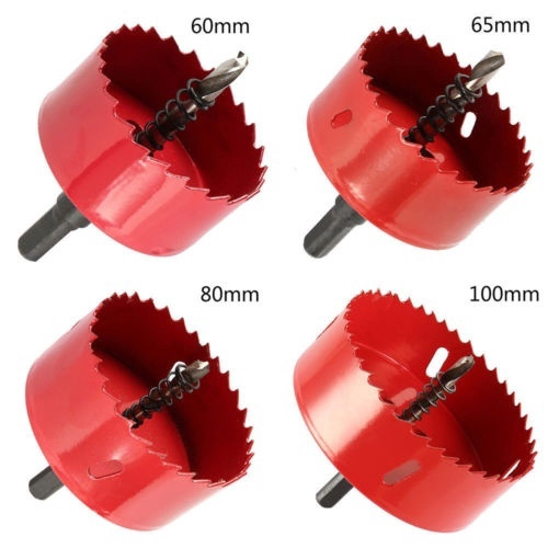Shock Sale O-L❥60-100mm Red Bi Metal M42 Hole Saw Cutter Drill Bit For Aluminum Iron Pipe ซื้อเลย - เท่านั้น ฿158