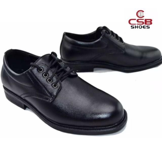 ஐ❃▨รองเท้า คัชชูหนัง ผู้ชาย แบบ ผูกเชือก CSB 545 ไซส์ 39-46 รองเท้าหนังผูกเชือก  เป็นหนังเทียม นิ่ม สีดำ