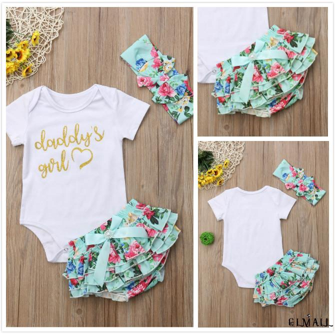 Newborn Infant Baby Kids Girls Clothes Jumpsuit Rompers Sunsuit Headband Outfits