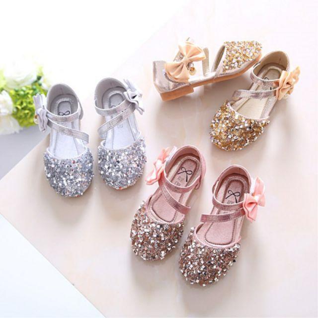 🎉พร้อมส่ง รองเท้าคัชชูเด็กผู้หญิง 3สี เงิน ทอง ชมพู size24-36  ฿259-299