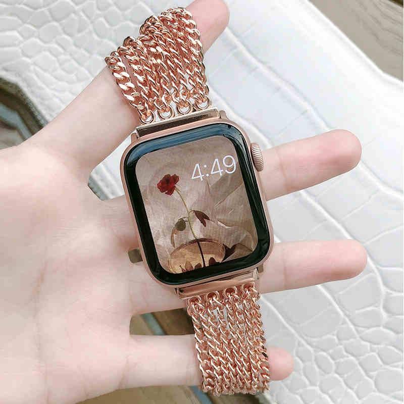 หรูหรา โซ่ สายนาฬิกา Apple Watch Straps เหล็กกล้าไร้สนิม สาย Applewatch Series 6 5 4 3 2 1 Stainless Steel สายนาฬิกาข้อมือ for apple watch iWatch Series6 ,Series5,Series4 ,Series3, Series2 , Apple Watch SE Watch band iwatch size 38mm 40mm 42mm 44mm