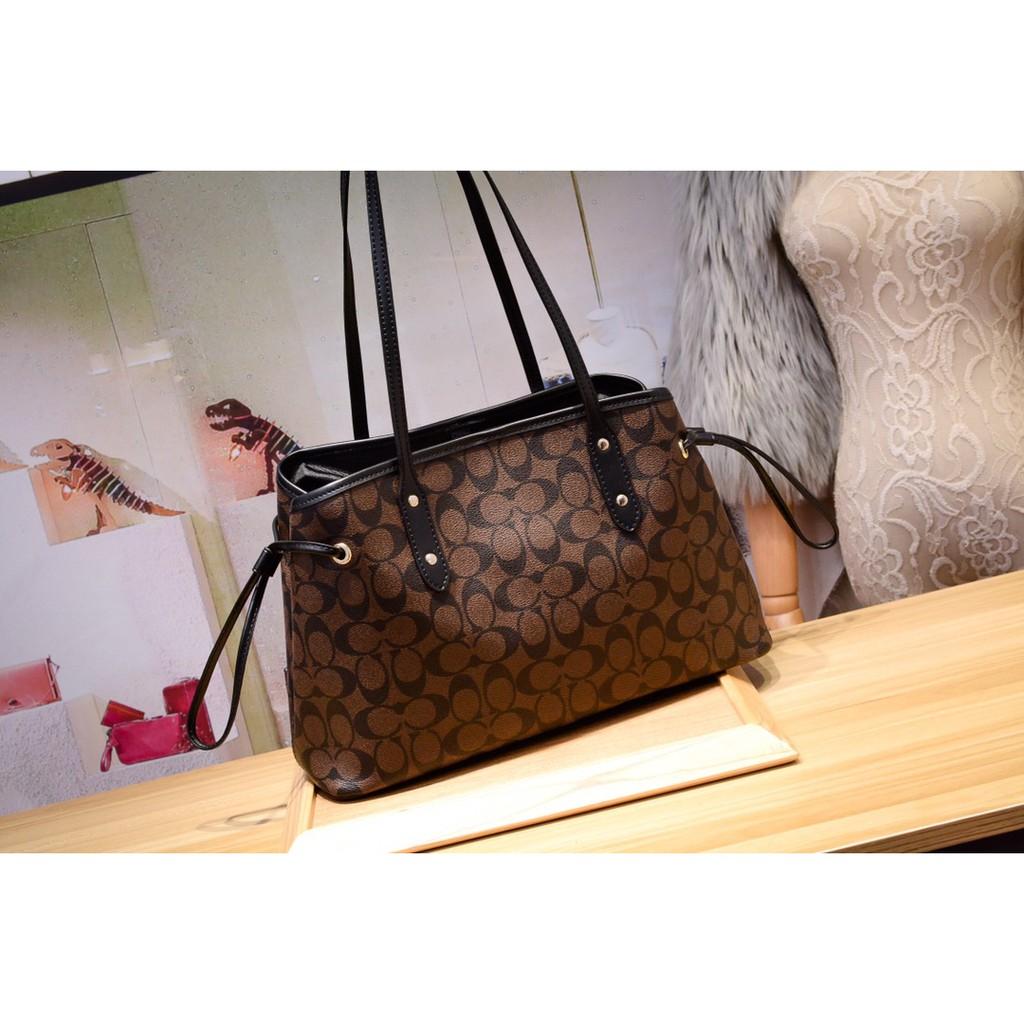 กระเป๋าสตางค์ใบสั้น❈New Coach 57842 กระเป๋าถือแฟชั่นหูรูด Princess ของแท้ 100% กระเป๋าหนังกระเป๋าสะพายข้าง กระเป๋าช่องมอ