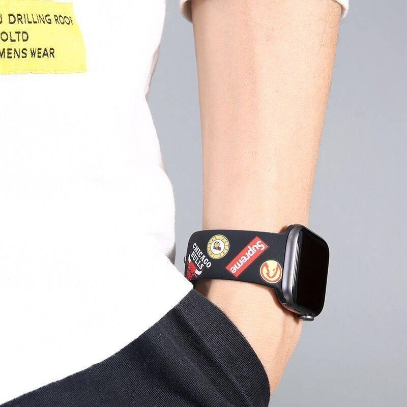 💥 สาย applewatch 🔥 AJ Personality Tide Brand Printing Design Strap Applewatch Strap Apple Watch 5/4 Generation Sports