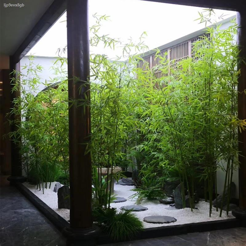 การจำลองพันธุ์ไม้อวบน้ำ☌จัดสวนไม้ไผ่เทียม ฉากกั้นห้องไม้ไผ่ปลอม สีเขียว โรงงาน ตกแต่งภายใน โรงแรม กระถางดอกไม้ ห้องนั่งเ
