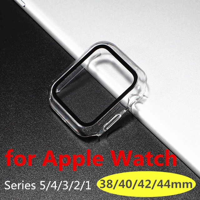 For Apple Watch Integrated Transparent Tempered Glass Case for Apple Watch Series 6 5 4 3 2 1 44mm 40mm 42mm 38mm Screen