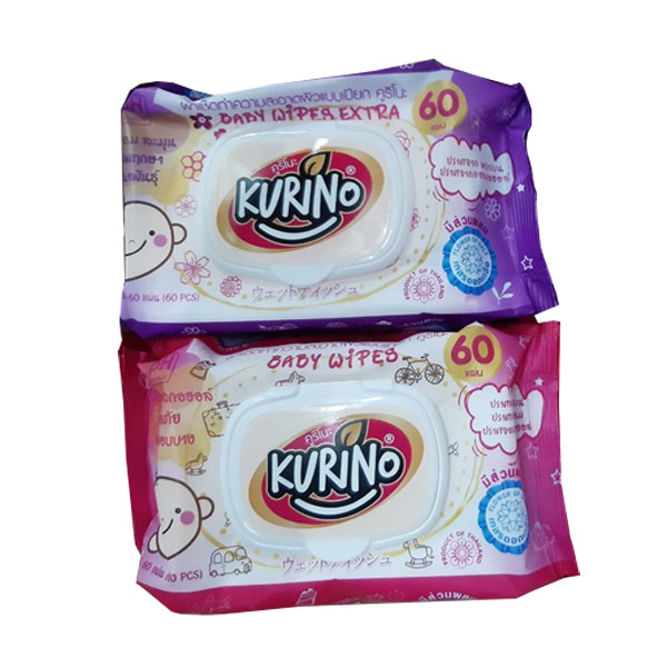 KURINO ทิชชูเปียก คูริโนะ สูตร Alcohol Free 60 แผ่น/ห่อ เหมาะสำหรับทุกสภาพผิวแม้ผิวบอบบาง (KURINO baby wipes)