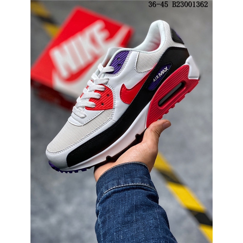Nike Air Max 90 Essential คลาสสิกย้อนยุคกีฬา Air รองเท้าวิ่งสีขาวสีดำสีแดงรองเท้าผ้าใบขนาด: 36-45