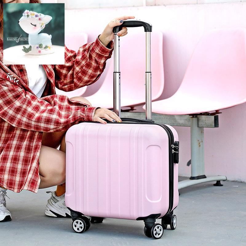 กระเป๋าเดินทางหญิงรหัสผ่านการเดินทางน่ารักกระเป๋ารถเข็นหญิงกระเป๋าหนังขนาดเล็ก 18 นิ้ว 16 ล้อสากลมินิ