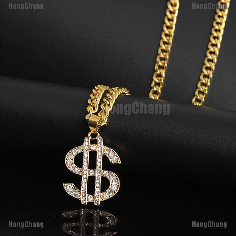 18K Gold Plated Dollar Sign Necklace Gangster Pimp Hip Hop Fashion Pendant Chain
