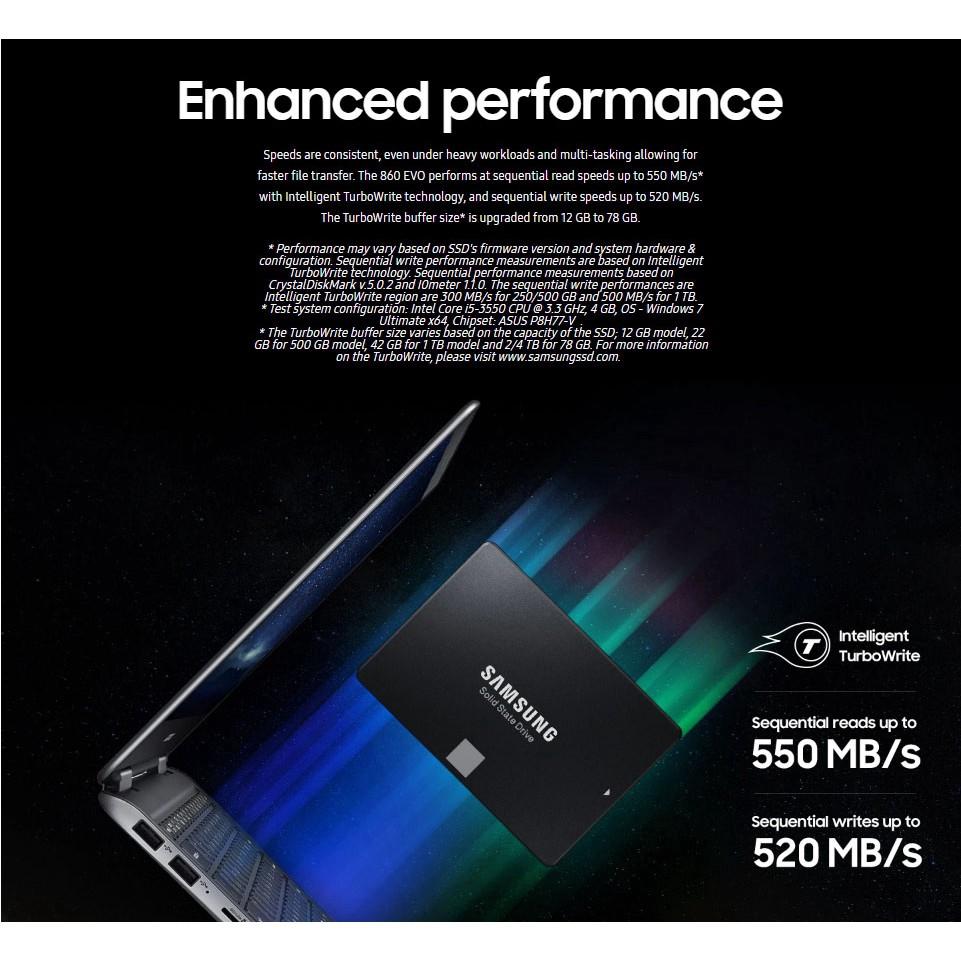 "Samsung 500GB 860 EVO SATA III 2.5/"" Internal SSD w// Up to 550 MB//s Speed"