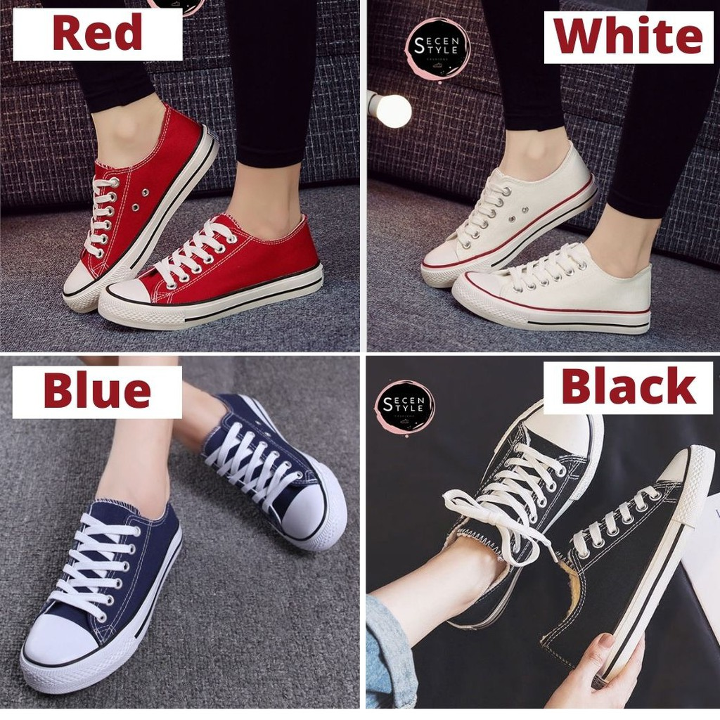 Secen รองเท้าผ้าใบหญิง-ชาย รองเท้าคู่ ผ้าใบสีขาวแถบแดง ** พร้อมส่ง**(รุ่น Ss-157) มีเก็บเงินปลายทาง.