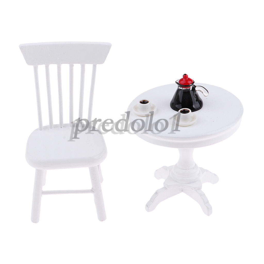 NEW Dollhouse Miniature Furniture Iron Metal WhiteTable and 4 Chairs Set 5PCS