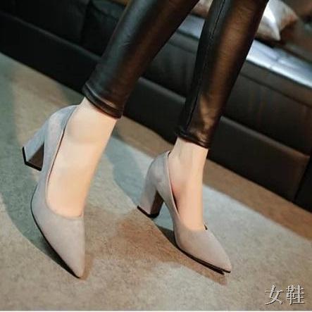 🌈รองเท้าส้นสูง🌈✨✨ คัชชูหัวแหลมส้นสูงผู้หญิง รองเท้าส้นสูงแฟชั่นขายดี รองเท้าคัชชูส้นสูง 2 นิ้ว สีเทา / สีดำ สีแดง