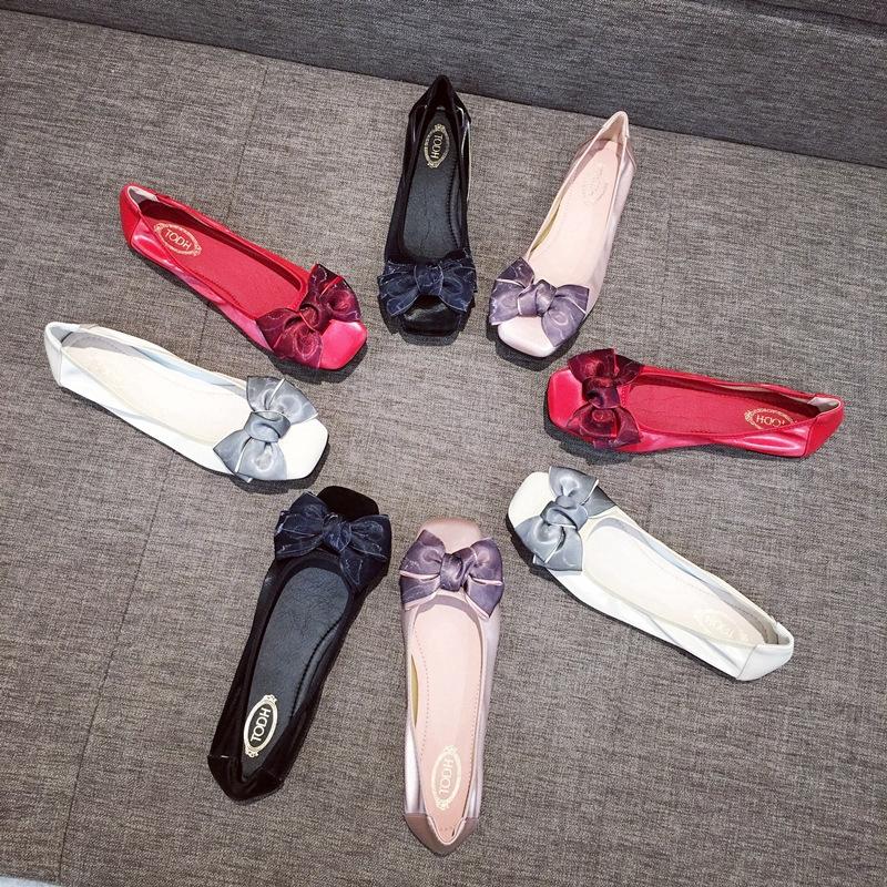 รองเท้าโลฟเฟอร์ รองเท้าคัชชูผูกโบว์ มีส้น หนังนิ่มใส่สบาย
