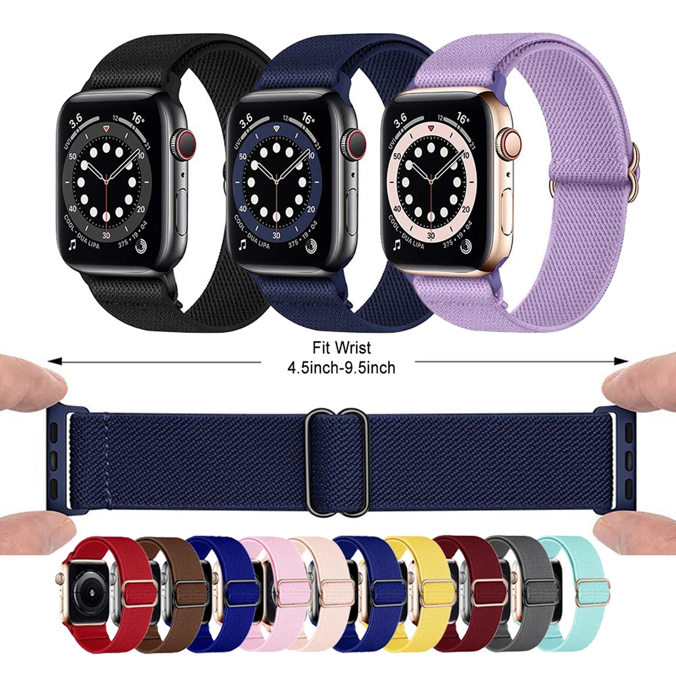 ไนลอนยืดหยุ่น Solo Loop สร้อยข้อมือ Scrunchie สำหรับ Apple watch band 44 มม. 40 มม. 38 มม. 42 มม. iWatch Series 6 SE 5 4 3 2 1