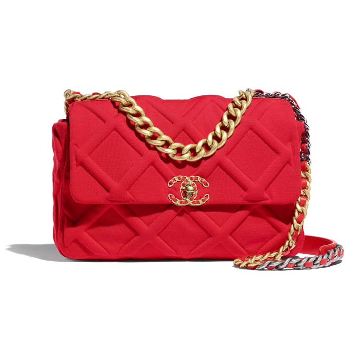 CHANEL 19 Large Flap Bag Jersey Jersey, Gold, Silver and Ruthenium Metallic Red