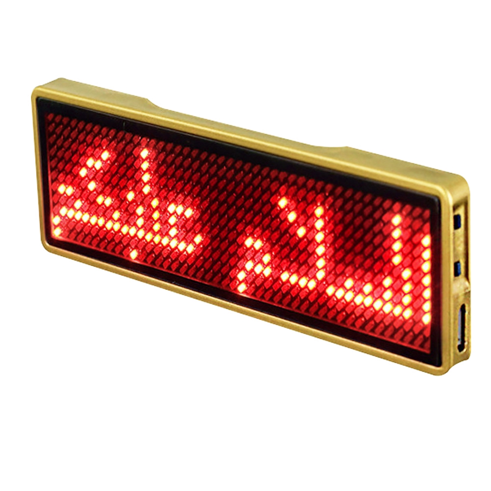 Rechargeable Red LED Scrolling Moving Name Badge Tag Sign Message Programmable