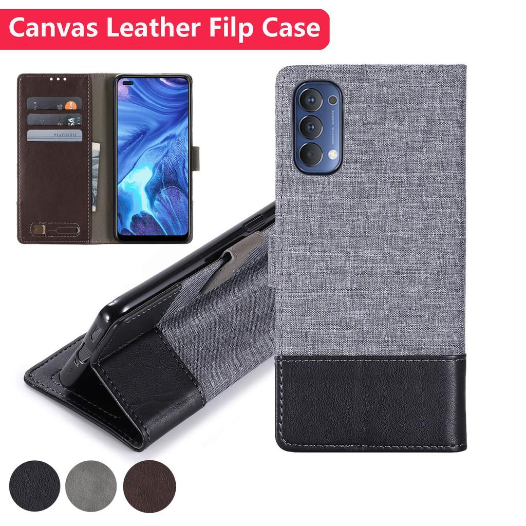 เคสโทรศัพท์หนังผ้าฝาพับกระเป๋าสตางค์ Oppo Reno 4 Pro Reno4 Reno4Pro 4G OppoReno4 Canvas Leather Card Slot Flip Case Cover