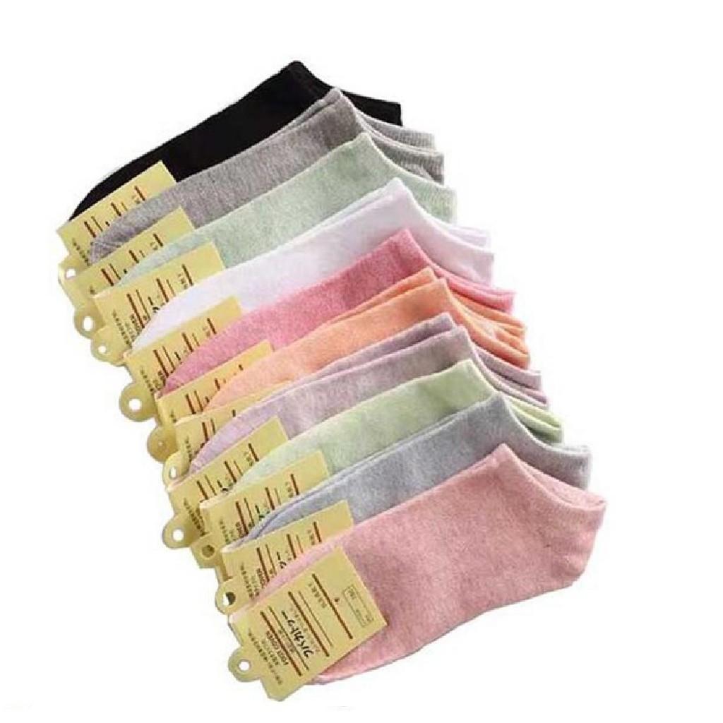 ถุงเท้าญี่ปุ่น ข้อสั้น 10 สี พาสเทล.