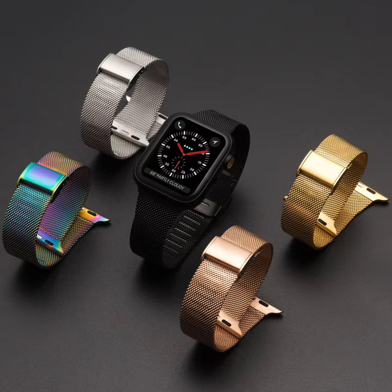 สายนาฬิกา apple watch 42mm 44mm 38mm 40mm Milanese Magnetic สาย applewatch Strap Apple watch Series 1/2/3/4/5 Wristband iWatch Replacement Bands