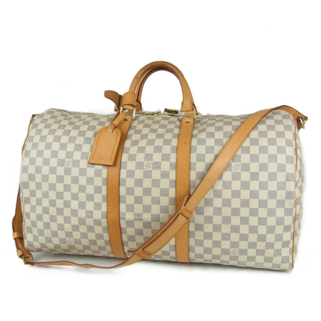 แท้ 100% กระเป๋าเดินทาง LOUIS VUITTON Damier Azur Keepall Bandouliere 55 Travel Bag มือสอง 1254