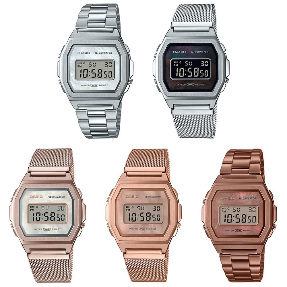 Casio Standard นาฬิกาข้อมือผู้หญิง สายสแตนเลส รุ่น A1000 (A1000D-7,A1000M-1B,A1000MCG-9,A1000MPG-9,A1000RG-5) YpVD