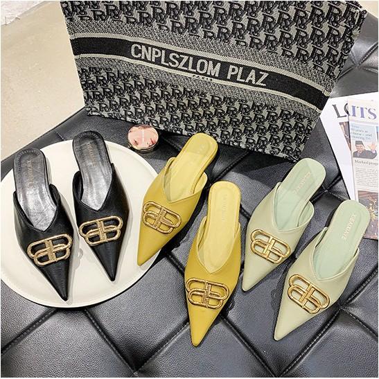 รองเท้าคัชชูหัวแหลม รองเท้าแฟชั่น💕 รองเท้าเปิดส้นใหม่ รองเท้าทำงาน รองเท้าผู้หญิงเปิดส้น