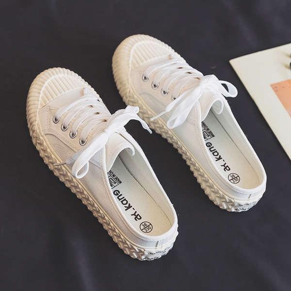 รองเท้าคัชชูเปิดส้นผู้หญิง รองเท้าคัชชูเปิดส้น รองเท้าเด็ก 2021 ใหม่ครึ่ง - ลากเหยียบรองเท้าผ้าใบขนาดเล็กหญิงฤดูร้อนสีขา